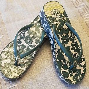 Tory Burch wedge flip flops worn once